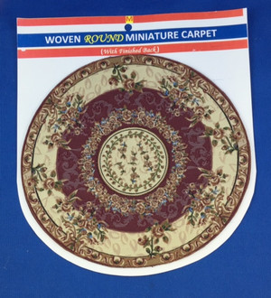 Woven Round Miniature Carpet - Beige & Burgandy Background