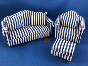 3 Piece Blue Striped Living Room Set