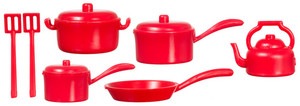 Red Plastic Pot & Pan Set