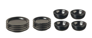 12 Pc. Black Metal Dish Set