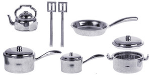 Silver Finish Plastic Pot & Pan Set