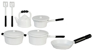 White Metal Pot & Pan Set