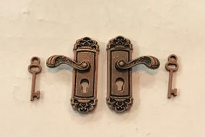 Fancy Antiqued Copper Door Knobs with Keys