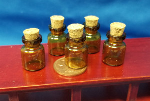 Set of 5 Tiny Glass Bottles with Corks - amber