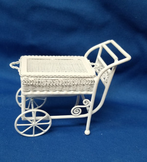 Alice Lacy White Wire Tea Cart