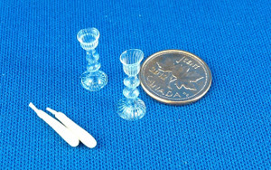Glass Candlesticks with Candles