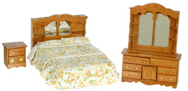 Oak Bedroom Set - 1/12 scale