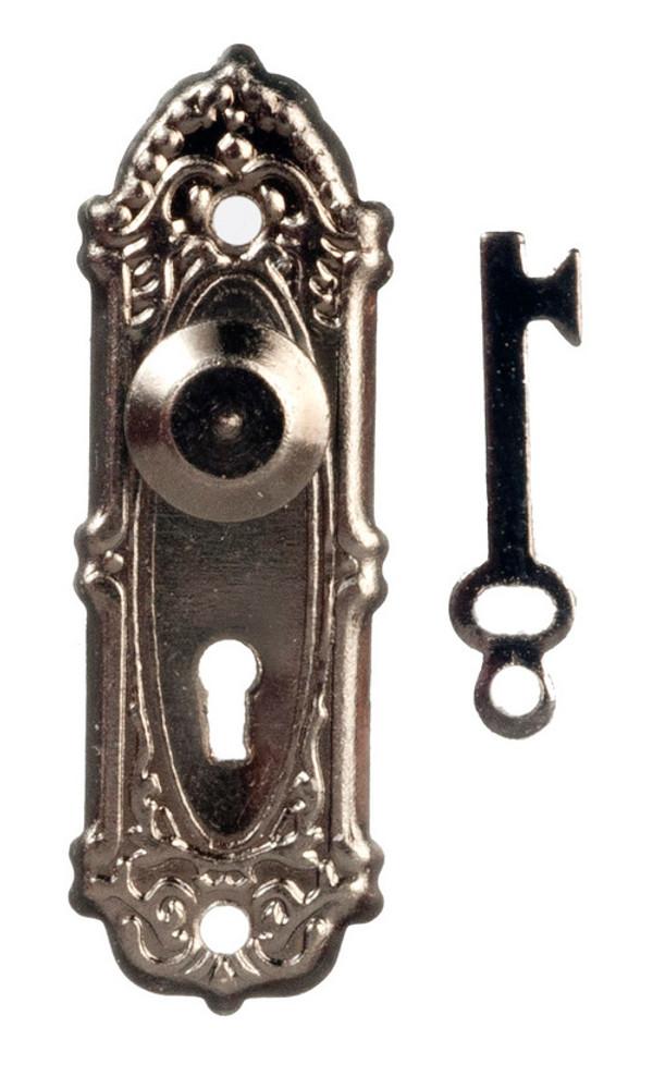 Fancy Antiqued Nickel Door Knobs - Set of 2 with keys