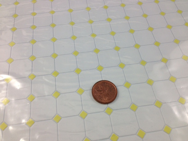 White with Yellow Diamond Pattern Vinyl Flooring