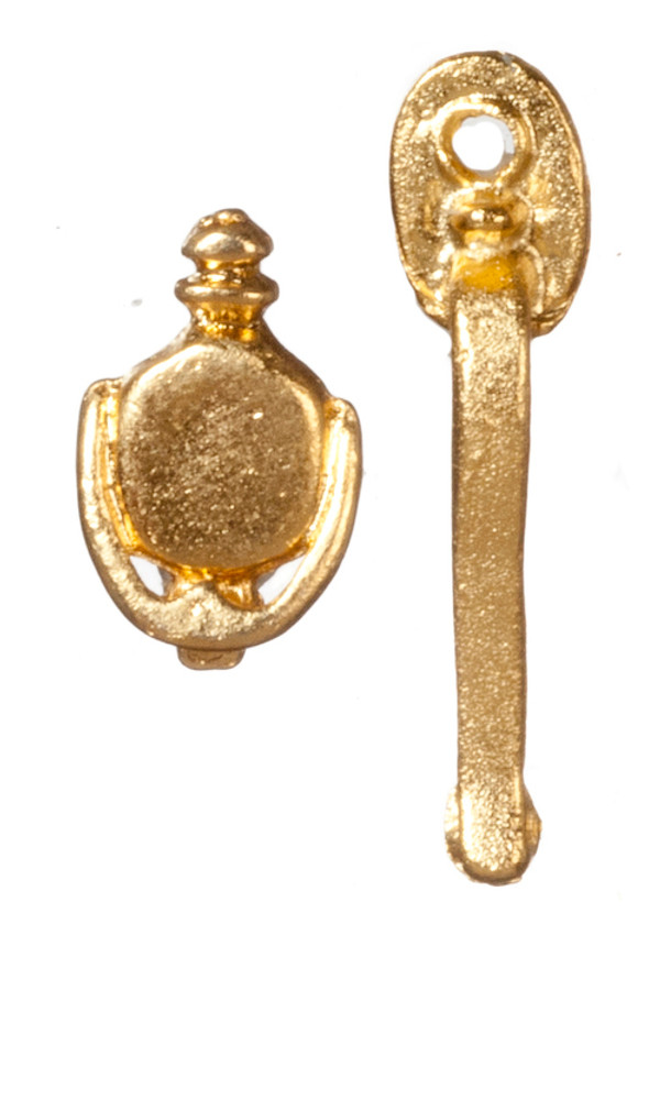 Brass Door Knob & Knocker Set
