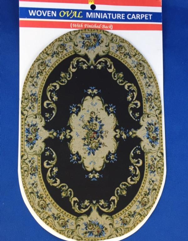 Woven Oval Miniature Carpet - Black Background