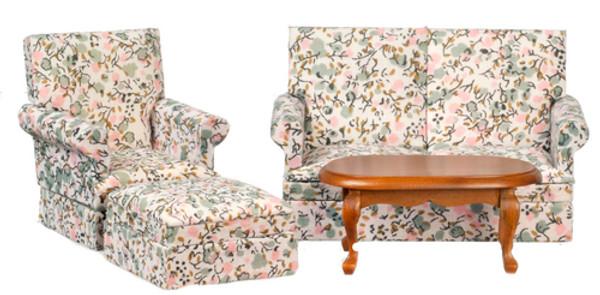 Living Room Set - Pink & Green Floral