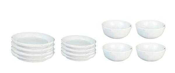 12 Pc. White Metal Dish Set