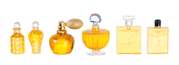 6 Perfume Bottles with Removable Tops - Yellow
