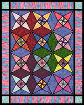 Stained Glass Star Paper Pieced Quilt Pattern