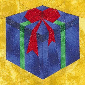 Fancy Gift Box Paper Pieced Quilt Block Pattern