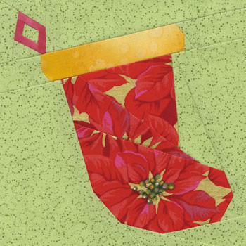 Holiday Stocking Paper Pieced Quilt Block Pattern