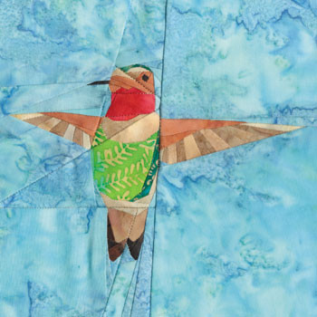 Hovering Hummingbird Paper Pieced Quilt Block Pattern