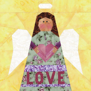 Love Angel Paper Pieced Quilt Block Pattern