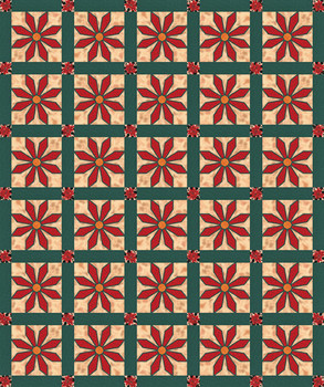 Stained Glass Poinsettia Paper Pieced Bed Quilt Pattern