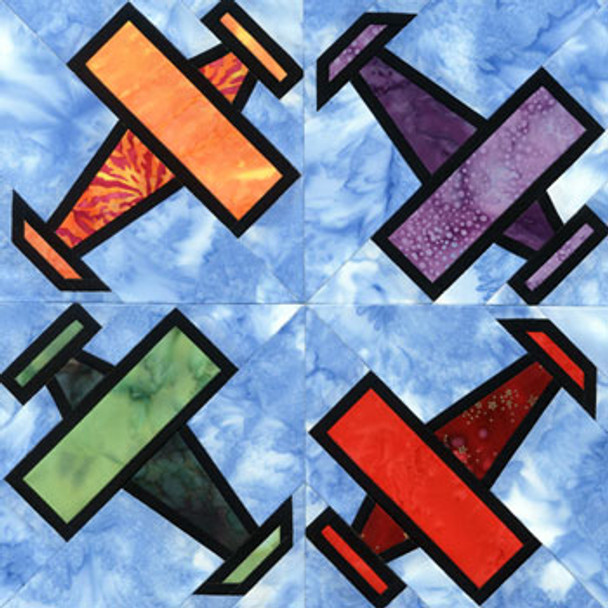 Stained Glass Airplane Paper Pieced Quilt Block Pattern