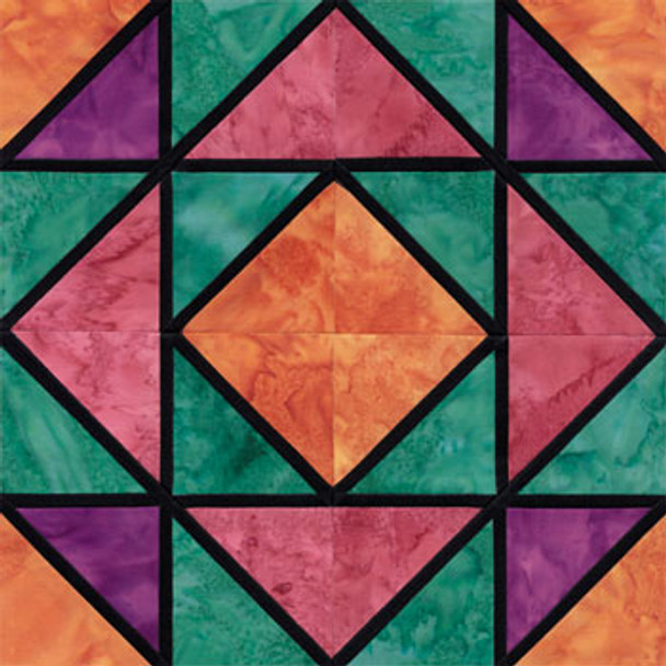 Stained Glass Canadian Gardens Paper Pieced Quilt Block Pattern
