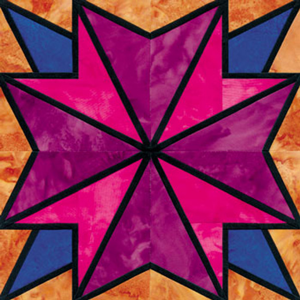Stained Glass Celestial Glow Paper Pieced Quilt Block Pattern