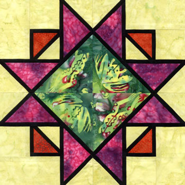 Stained Glass Continual Expansion Paper Pieced Quilt Block Pattern