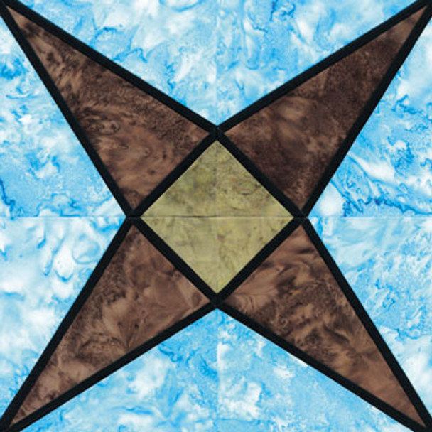 Stained Glass Crossed Canoes Paper Pieced Quilt Block Pattern