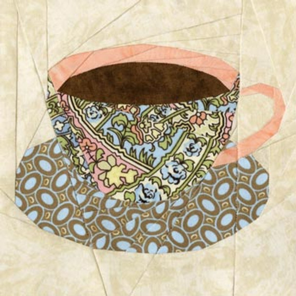 English Teacup Paper Pieced Quilt Block Pattern