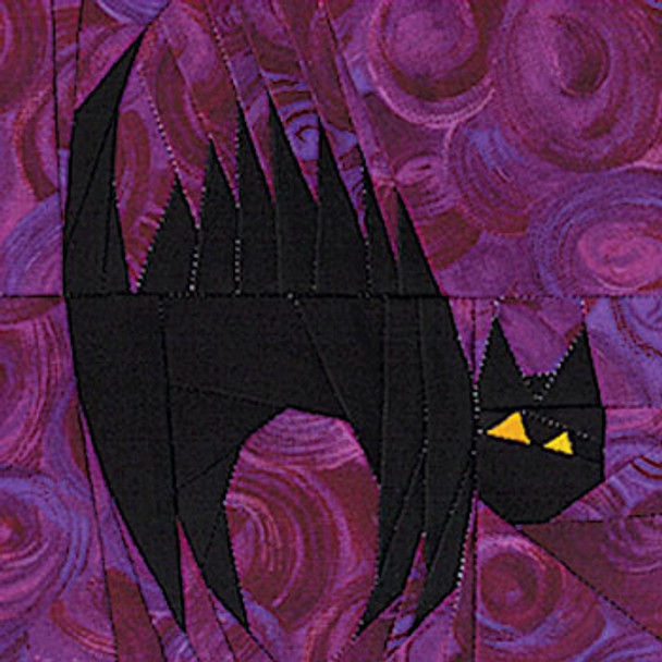 Black Cat Paper Pieced Quilt Block Pattern
