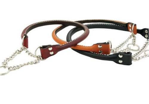 Rolled Leather Martingale Collar