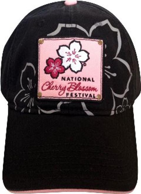 Black Cherry Blossom Patch Hat