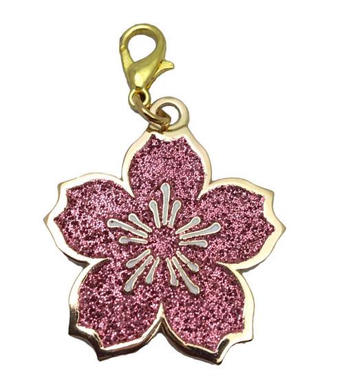 Flower Glitter Keychain Charm with Hook