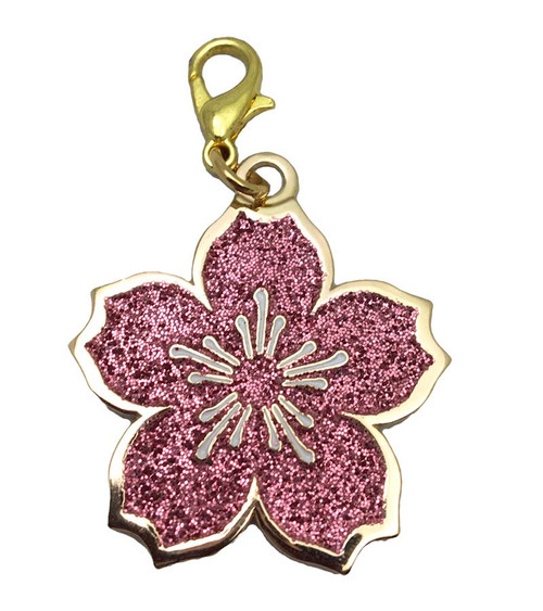 Flower Glitter Keychain Charm with Hook