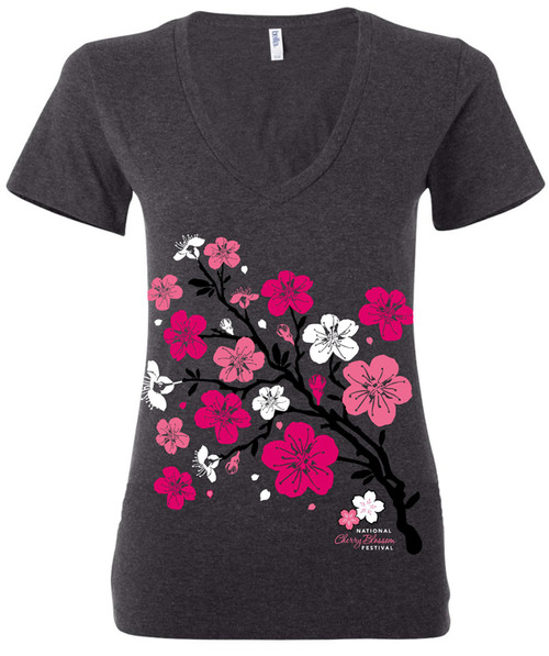 Ladies Cherry Limb Fitted V-neck T-Shirt