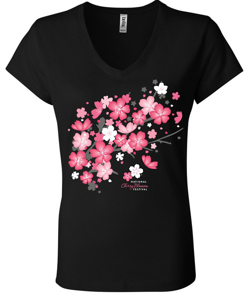 Ladies Tee - New Blossom V- neck