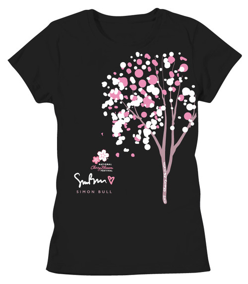 SIMON BULL NCBF CHERRY BUBBLE TREE LADIES BOYFRIEND TEE BLACK