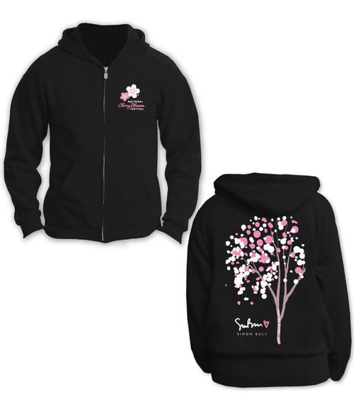 SIMON BULL NCBF CHERRY BUBBLE TREE FULL ZIP UNISEX HOODIE BLACK