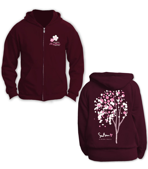 SIMON BULL NCBF CHERRY BUBBLE TREE FULL ZIP UNISEX HOODIE MAROON