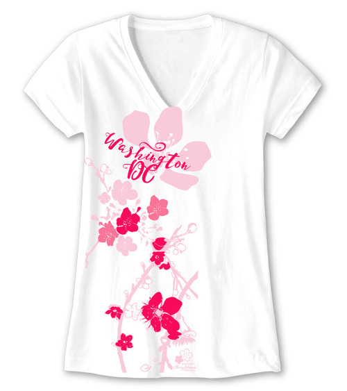 CHERRY BLOSSOM IMPRESSION LADIES V-NECK WHITE