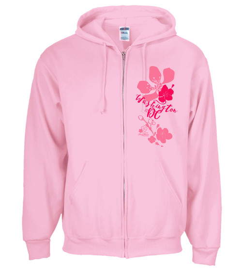CHERRY BLOSSOM IMPRESSION UNISEX FULL ZIP CLASSIC PINK