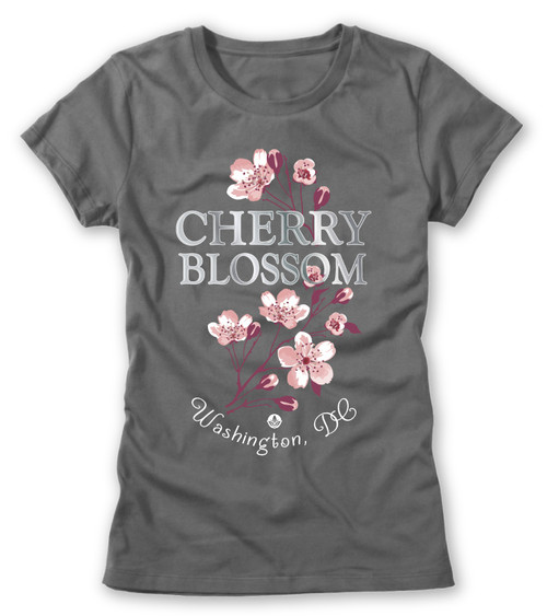 VICTORIAN CHERRY BLOSSOM LADIES TEE CHARCOAL