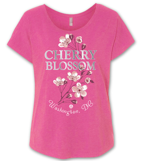VICTORIAN CHERRY BLOSSOM LADIES DOLMAN HOT PINK