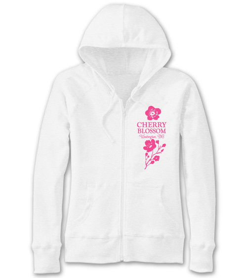 VICTORIAN CHERRY BLOSSOM LADIES SLUB FULL ZIP WHITE