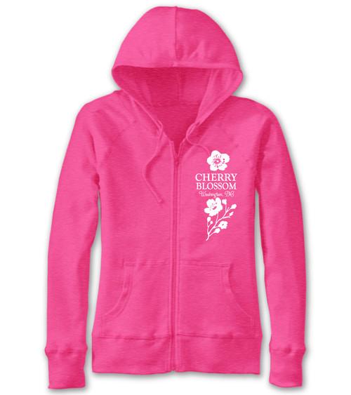 VICTORIAN CHERRY BLOSSOM LADIES SLUB FULL ZIP PINK FLAMBE