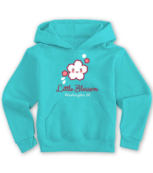LITTLE BLOSSOM YOUTH HOODIE SCUBA BLUE