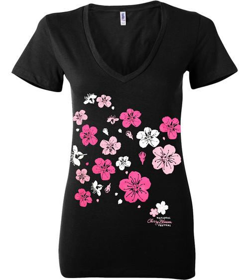 Ladies Cherry Limb Fitted V-Neck T-Shirt-Black