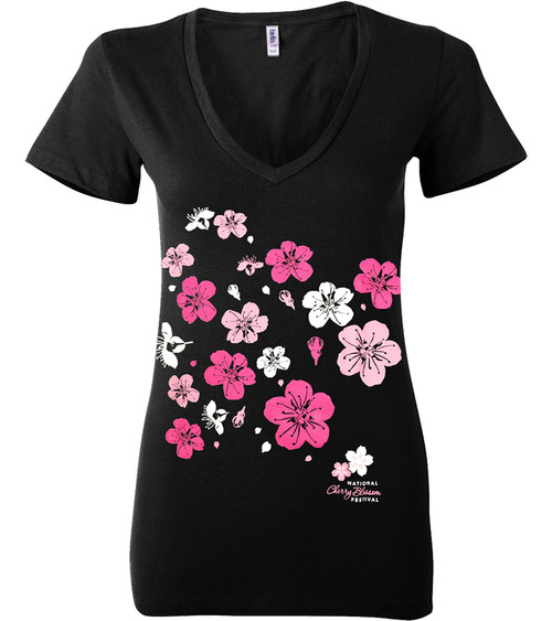Ladies Cherry Limb Fitted V-Neck T-Shirt-Black
