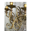 L17248 - Antique Late Victorian Brass Five Arm Candle Sconce